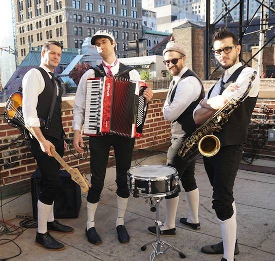 The Polka Brothers with instruments